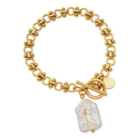Scoop - Scoop Brass Yellow Gold-Plated Imitation Pearl Link Toggle Bracelet, 7.5'' - Walmart.com - Walmart.com