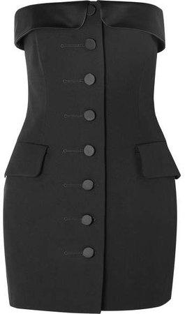 Strapless Silk Satin-trimmed Wool-gabardine Mini Dress - Black