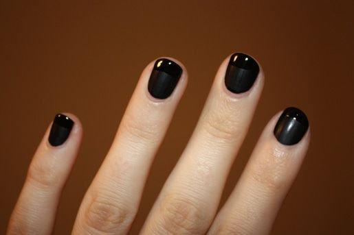 short plain black natural nails