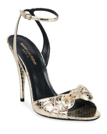 Saint Laurent Anouk Metallic Bow Sandals   Neiman Marcus