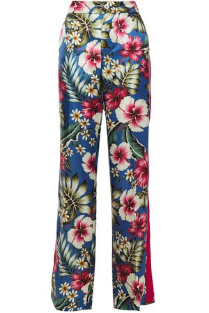 Blue Hydros floral-print satin-jacquard wide-leg pants | Sale up to 70% off | THE OUTNET | F.R.S. FOR RESTLESS SLEEPERS | THE OUTNET