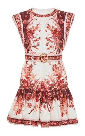 Wavelength Printed Belted Linen Mini Dress by Zimmermann | Moda Operandi