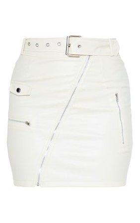 Ecru Faux Leather Biker Belted Mini Skirt | PrettyLittleThing