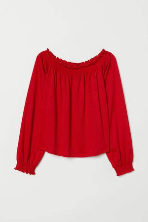 Off-the-shoulder Blouse - Red