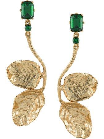 Oscar De La Renta Climbing Leaf Drop Crystal Earrings - Farfetch