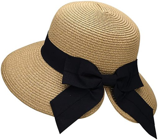 Verabella Straw Bonnet Womens Foldable Straw Sun Wide Brim Beach Straw Hat, Black at Amazon Women's Clothing store