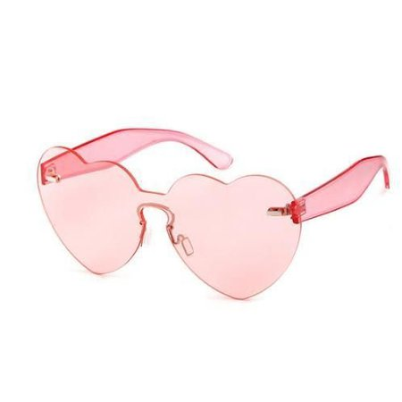 HUGE TRANSPARENT COLORFUL HEART SHAPE SUNGLASSES