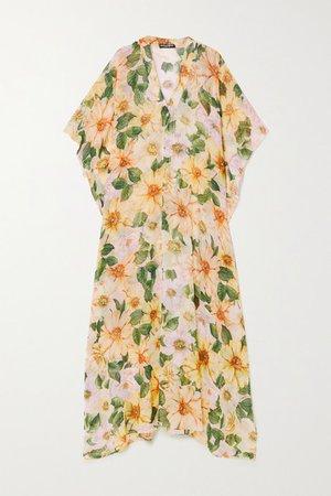 Floral-print Silk-chiffon Kaftan - Yellow