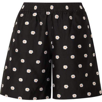 Asuka Floral-jacquard Shorts - Black