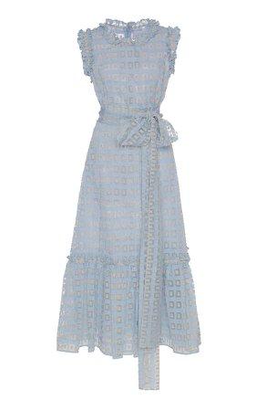 Sheer Jacquard Midi Dress