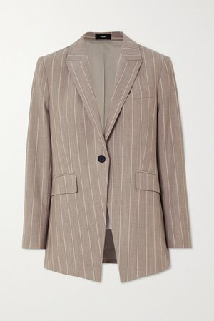 Beige Pinstriped wool-blend blazer | Theory | NET-A-PORTER