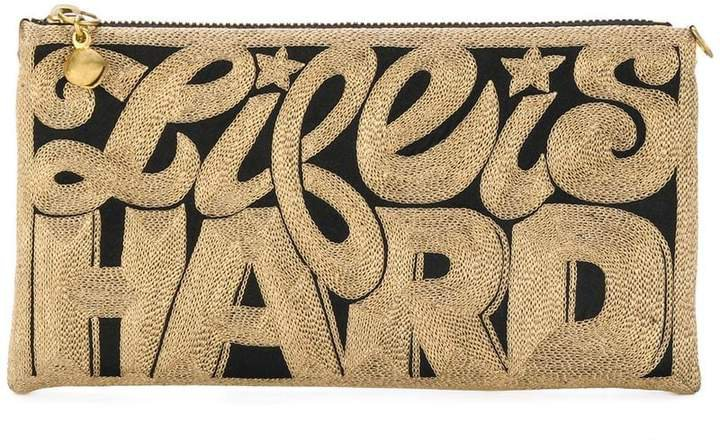 Anne Grand Clement embroidered clutch bag