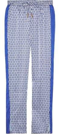Paloma Blue Hutton Printed Silk Crepe De Chine Straight-leg Pants