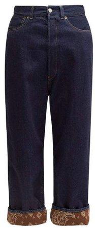 Breezy Bandana Trimmed Wide Leg Jeans - Womens - Indigo