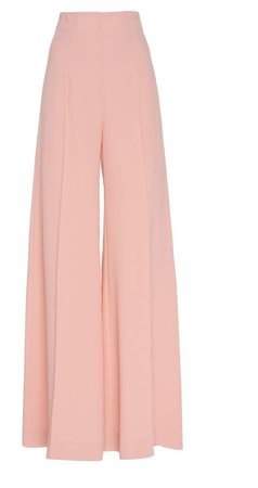 Crepe High-Waist Pants