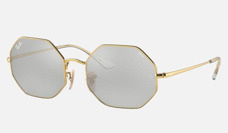 Ray-Ban Octagon 1972 Mirror Evolve RB1972 Shiny Gold - Metal - Pink/Grey Lenses - 0RB1972001/3E54   Ray-Ban® USA
