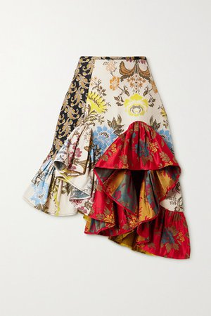 Net Sustain Rem'ade By Asymmetric Patchwork Brocade Skirt - Red