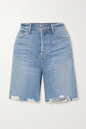 Mid denim Marjan distressed denim shorts | GRLFRND | NET-A-PORTER