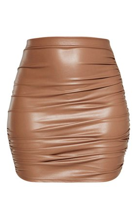 Stone Pu Ruched Detail Mini Skirt | Skirts | PrettyLittleThing USA