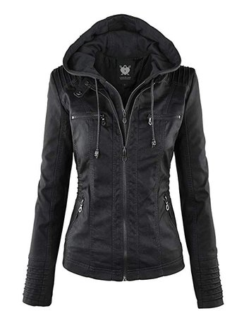 Lock and Love Women's Hooded Faux Leather Moto Biker Jacket (XS~2XL) at Amazon Women's Coats Shop
