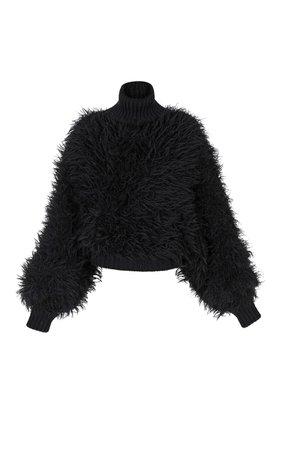 Batwing Fuzzy Turtleneck Mohair-Blend Sweater by Balmain | Moda Operandi