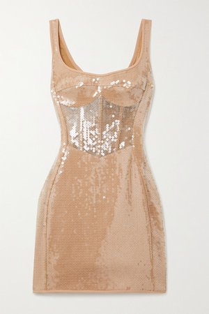 Sequined Tulle And Cady Mini Dress - Beige