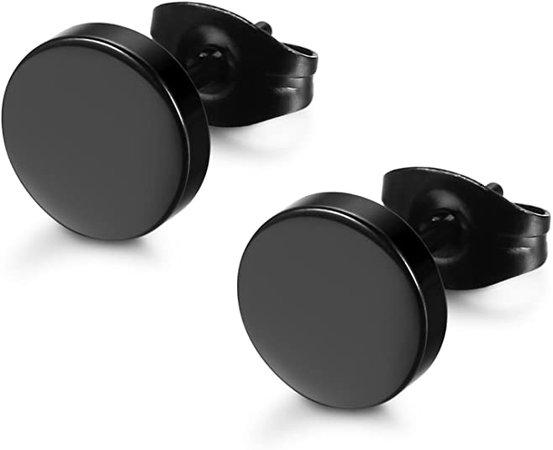 Amazon.com: FIBO STEEL Stainless Steel Black Stud Earrings for Men Women, 8mm: Jewelry