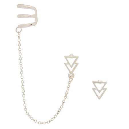 Silver Triangle Ear Connector Earrings | Claire's