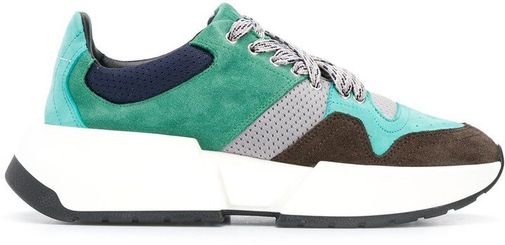 Panelled Lace-Up Sneakers