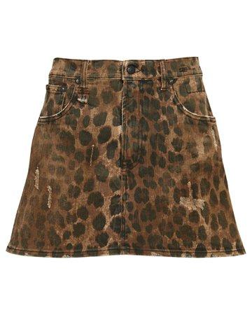R13 Leopard Print Denim Mini Skirt | INTERMIX®