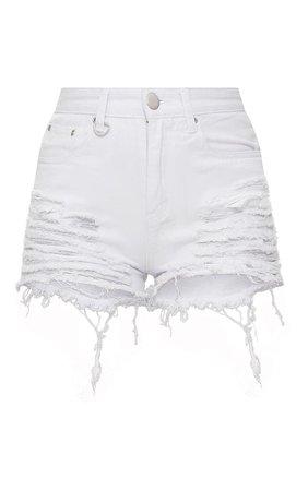Ecru Jeanie Extreme Ripped Mom Denim Shorts | PrettyLittleThing USA