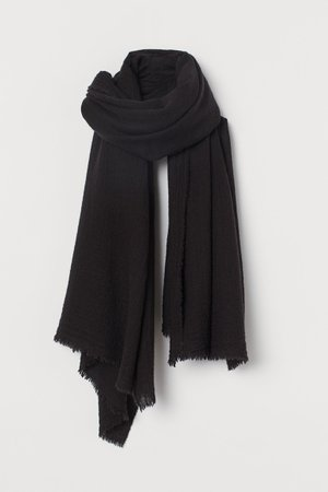 Wool-blend scarf - Black - Ladies   H&M GB