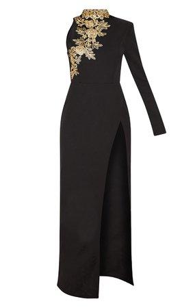 Black High Neck Asymmetric Maxi Dress