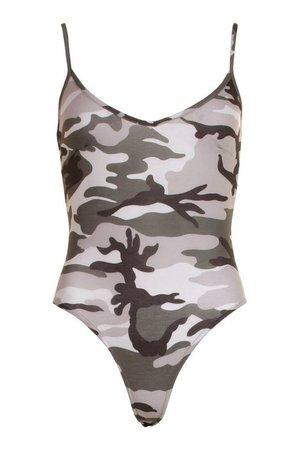 Camo Print Bodysuit | boohoo