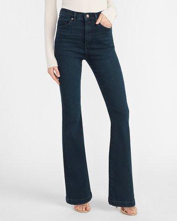 Super High Waisted Dark Wash Flare Jeans