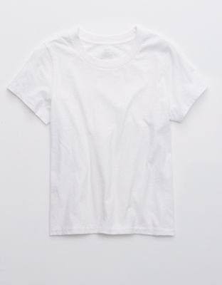 Aerie Cropped Short Sleeve T-Shirt white