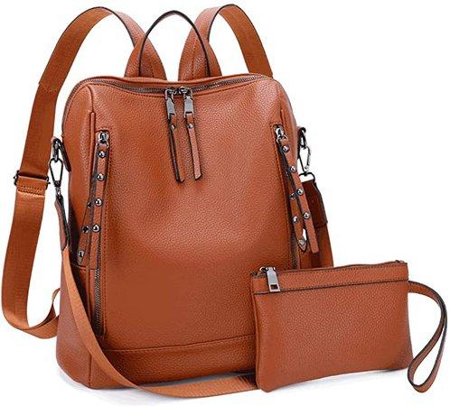 Amazon.com: MU-BTINA Women Backpack Purse - PU Leather Ladies Rucksack rivets Zipper Pocket Shoulder Bag Convertible backpack purse 2pcs set (Brown): Clothing