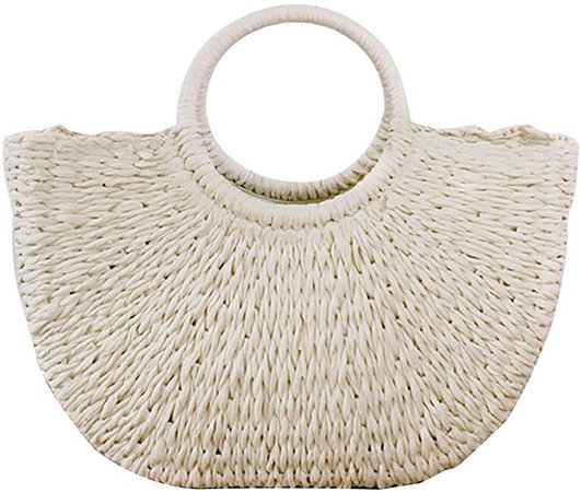 Hand-woven Straw Large Hobo Bag for Women Round Handle Ring Toto Retro Summer Beach (Off white): Handbags: Amazon.com