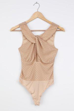Beige Mesh Bodysuit - Polka Dot Bodysuit - Sexy Cutout Bodysuit
