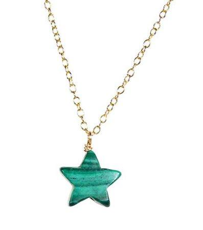 malachite star necklace gold