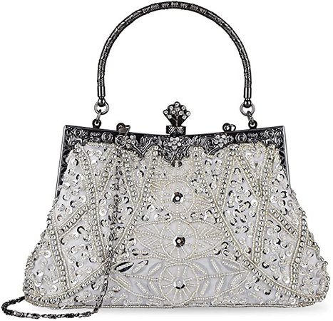 KISSCHIC Women's Vintage Beaded and Sequined Evening Bag Wedding Party Handbag Clutch Purse (Silver): Handbags: Amazon.com