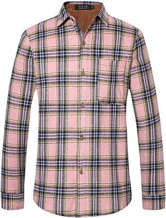 SSLR Men's Button Down Regular Fit Casual Shirt Long Sleeve Camp Plaid Flannel Shirts (Medium, Khaki) at Amazon Men's Clothing store