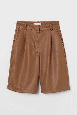Faux Leather Shorts - Beige