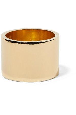 Jennifer Fisher | Stripe gold-plated ring | NET-A-PORTER.COM