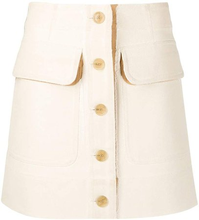 two-tone buttoned mini skirt