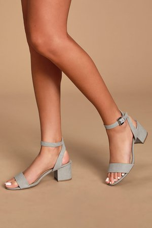 Grey Vegan Suede Heels - Ankle Strap Heels - Low Block Heels