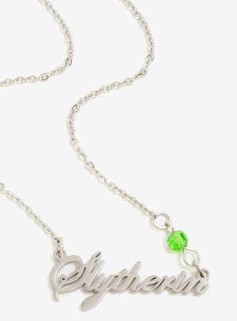 Harry Potter Slytherin Cursive Stone Necklace - BoxLunch Exclusive