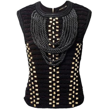 Balmain X H&m Braided Embroidery Sleeveless Rope Cord Top