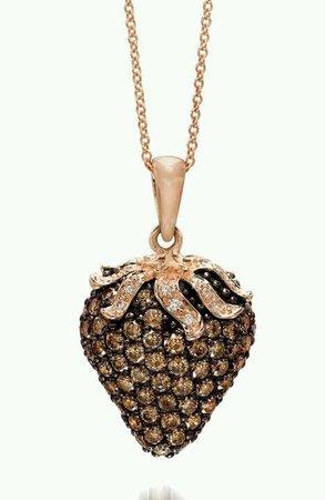 LeVian - chocolate Diamond pendant in strawberry Gold.   LeVian in 2019   Jewelry, Diamond pendant, Diamond jewelry