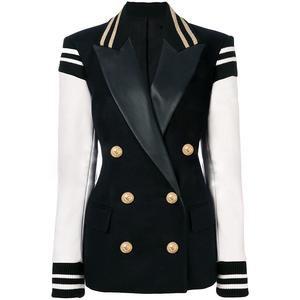 """The """"Felicity"""" Faux Leather Varsity Jacket Blazer – Sarah Ashley"""